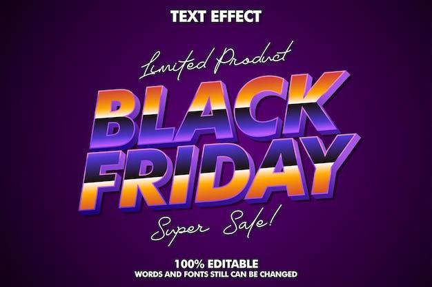 Efeito de texto preto sexta-feira, efeito de texto moderno editável