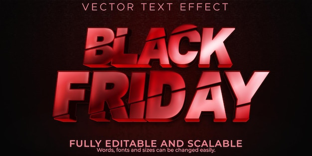 Efeito de texto preto sexta-feira, venda editável e estilo de texto de oferta
