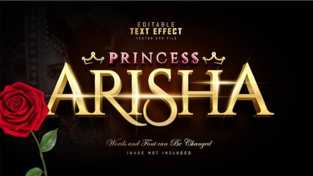 Efeito de texto princesa arisha