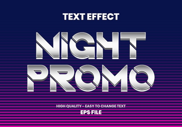 Efeito de texto promocional noturno