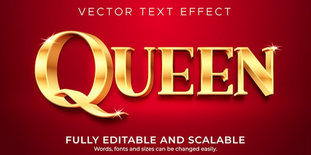 Efeito de texto queen golden, estilo editável elegante e rich text