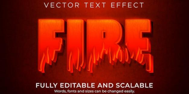 Efeito de texto quente de fogo, chama editável e estilo de texto vermelho