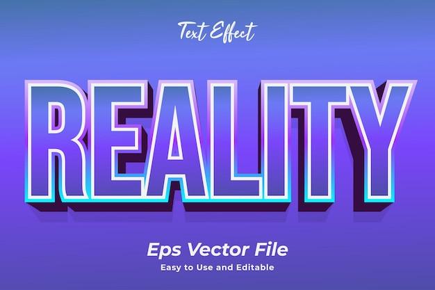 Efeito de texto realidade editável e fácil de usar vetor premium