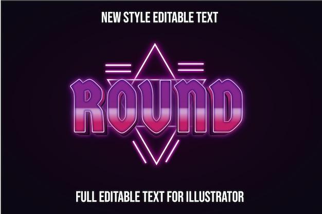 Efeito de texto redondo cor roxo e gradiente rosa