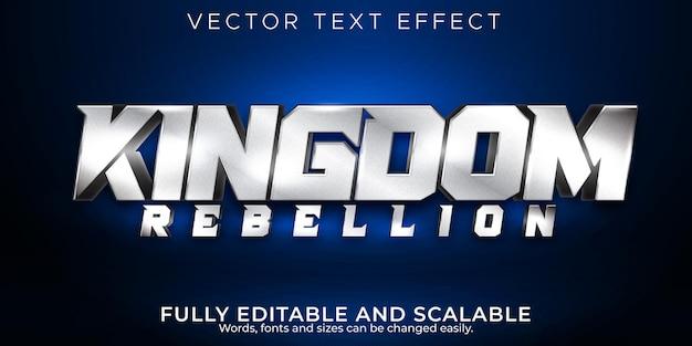 Efeito de texto reino, estilo de texto editável metálico e brilhante