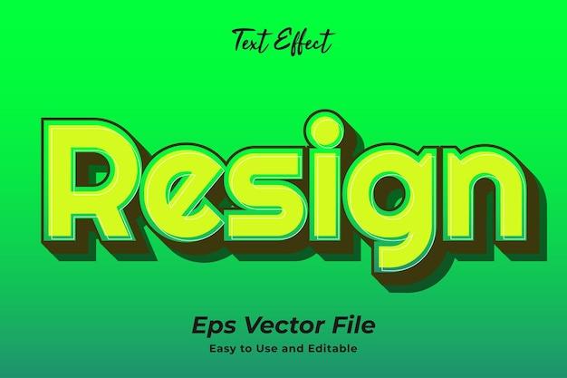 Efeito de texto resign fácil de usar e editável em vetor premium