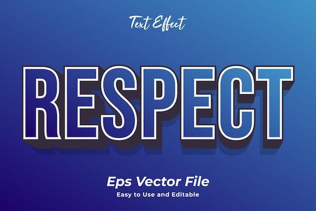 Efeito de texto respeito vetor premium editável e fácil de usar