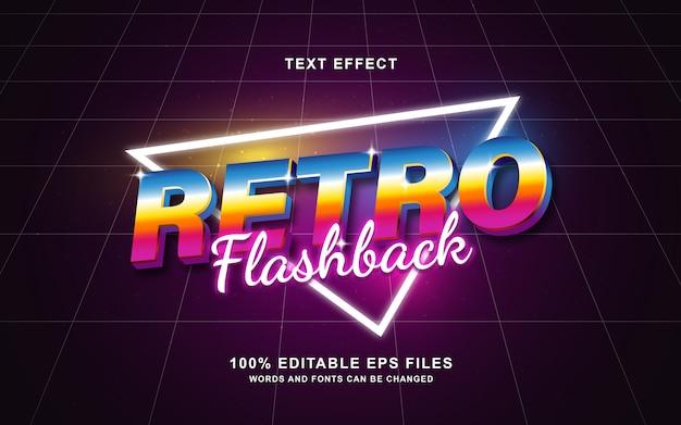 Efeito de texto retrô de flashback retrô dos anos 80