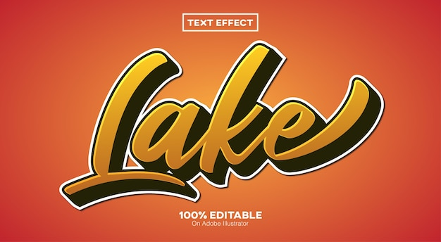 Efeito de texto retro do lago