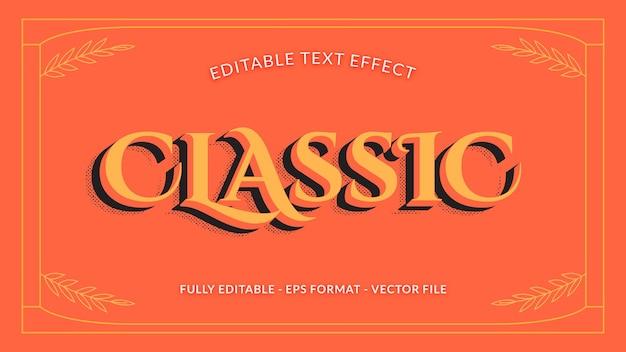 Efeito de texto retro editável clássico com efeito de sombra em meio-tom
