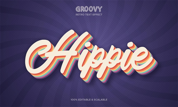 Efeito de texto retrô hippie groovy