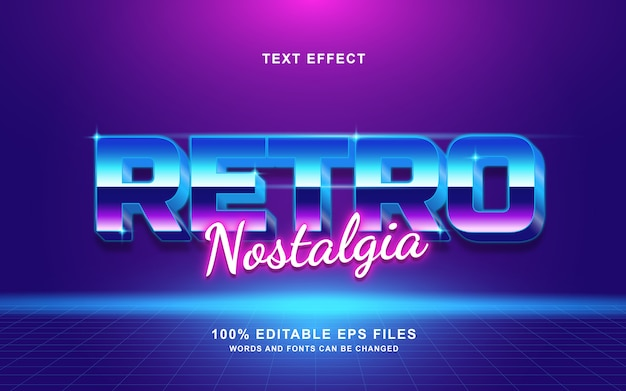 Efeito de texto retrô nostalgia retrô