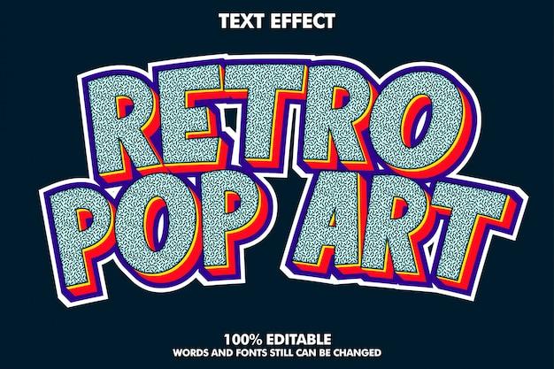 Efeito de texto retro pop art com textura rica