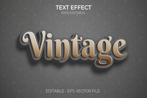 Efeito de texto retro vintage editável dos anos 70 e 80 3d estilo de texto em negrito vetor premium