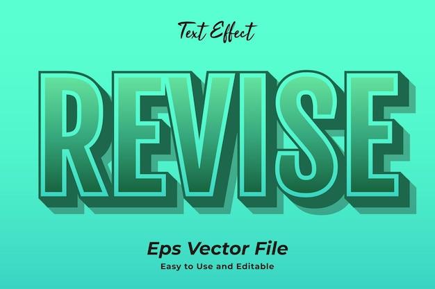 Efeito de texto revisado vetor premium editável e fácil de usar