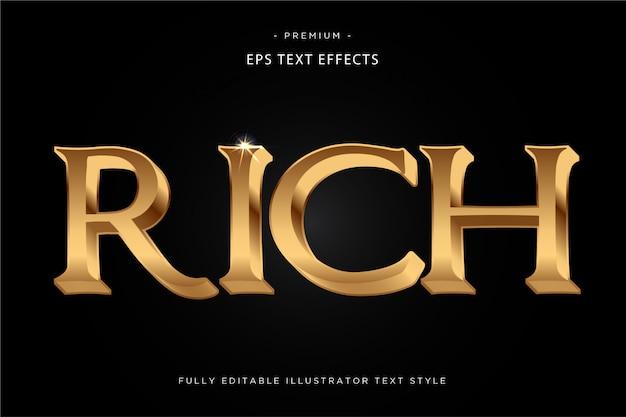 Efeito de texto rico em ouro rico estilo de texto 3d