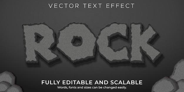 Efeito de texto rock and stone, estilo de texto editável Vetor Premium