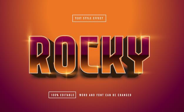 Efeito de texto rocky retro editável