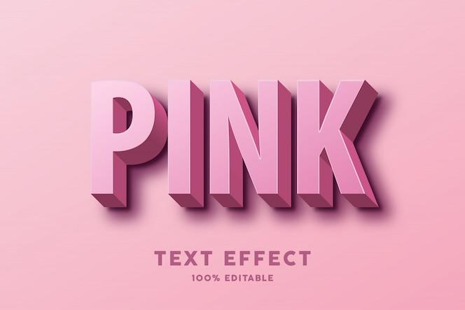 Efeito de texto rosa 3d