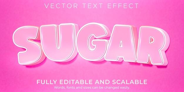 Efeito de texto rosa açúcar, luz editável e estilo de texto suave