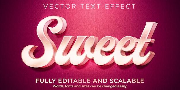 Efeito de texto rosa doce, luz editável e estilo de texto suave