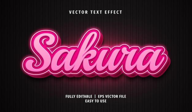Efeito de texto sakura, estilo de texto editável