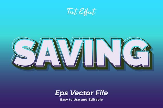 Efeito de texto salvando vetor premium fácil de usar e editável