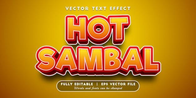 Efeito de texto sambal quente com estilo de texto editável
