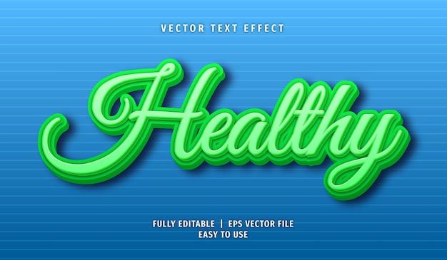 Efeito de texto saudável, estilo de texto editável