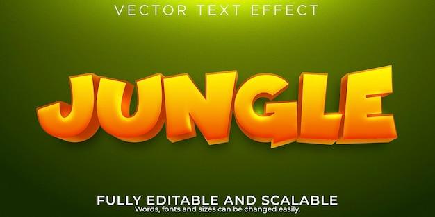 Efeito de texto selva, desenho editável e estilo de texto em quadrinhos