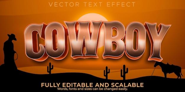 Efeito de texto selvagem de cowboy, estilo de texto editável do oeste e texas