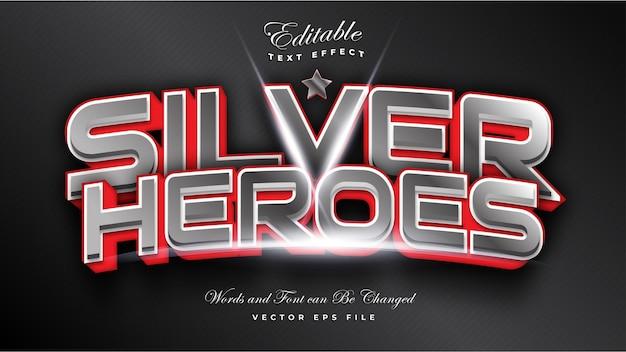 Efeito de texto silver heroes