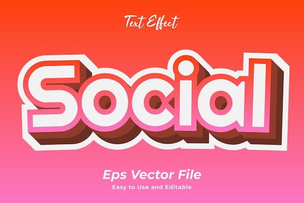 Efeito de texto social editável e fácil de usar vetor premium