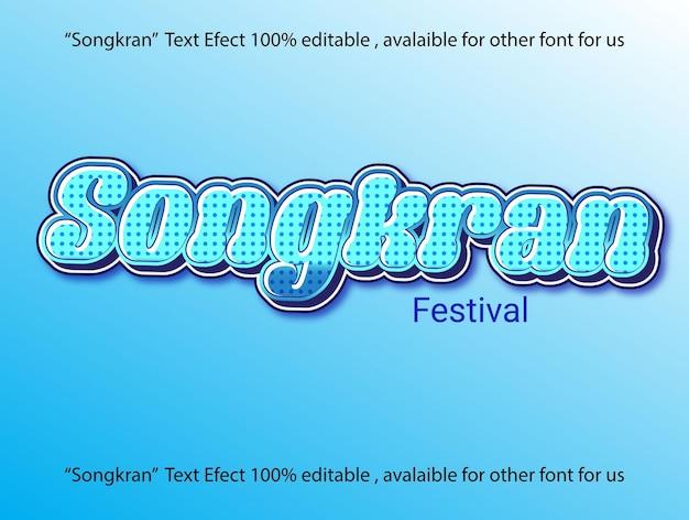 Efeito de texto songkran ponto azul