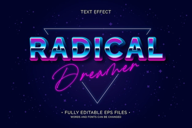 Efeito de texto sonhador radical