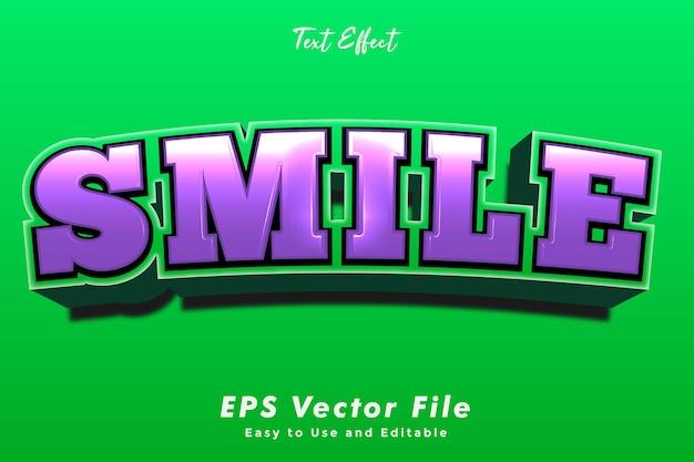 Efeito de texto sorriso moderno. editável e fácil de usar. efeito de tipografia