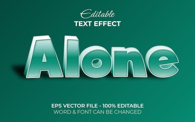 Efeito de texto sozinho estilo verde 3d efeito de texto editável