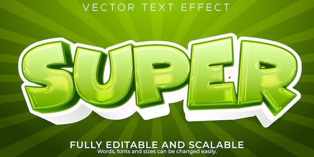 Efeito de texto super cartoon; estilo de texto editável em quadrinhos e engraçado