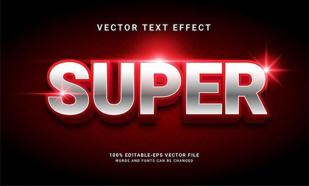 Efeito de texto super editável com tema elegante cor vermelha