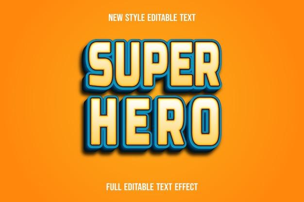 Efeito de texto super-herói cor marrom claro e gradiente azul