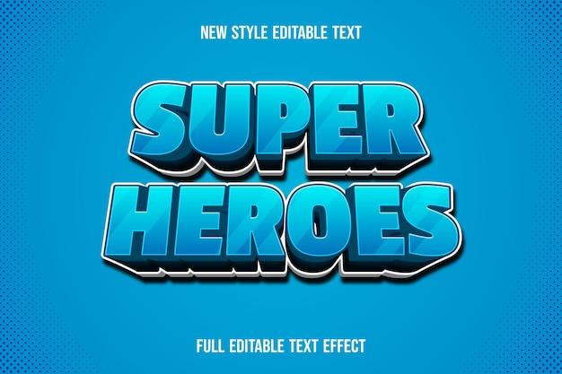 Efeito de texto super-heróis 3d com gradiente de azul e branco