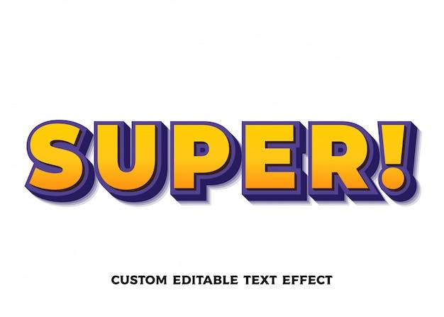 Efeito de texto super laranja. estilo de fonte editável