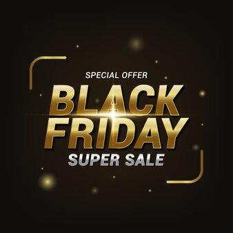 Efeito de texto super venda sexta-feira negra, modelo de banner