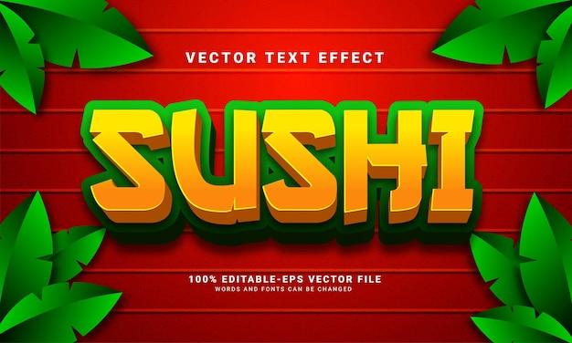 Efeito de texto sushi 3d, estilo de texto editável e adequado para menu de comida asiática