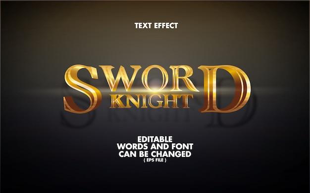 Efeito de texto sword knight palavras editáveis