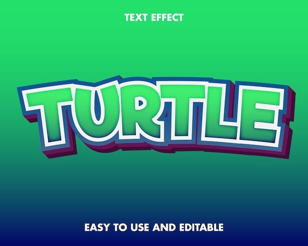 Efeito de texto tartaruga. editável e fácil de usar.