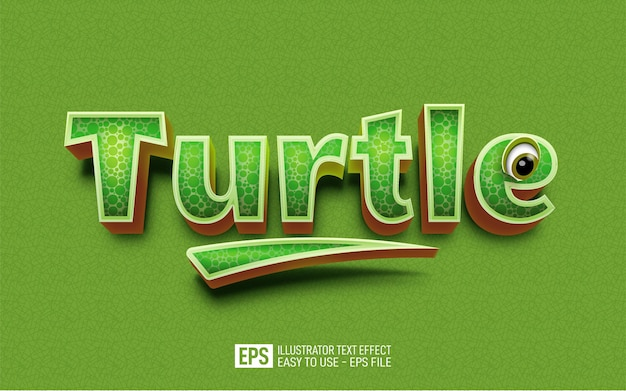Efeito de texto tartaruga, modelo de efeito de estilo editável
