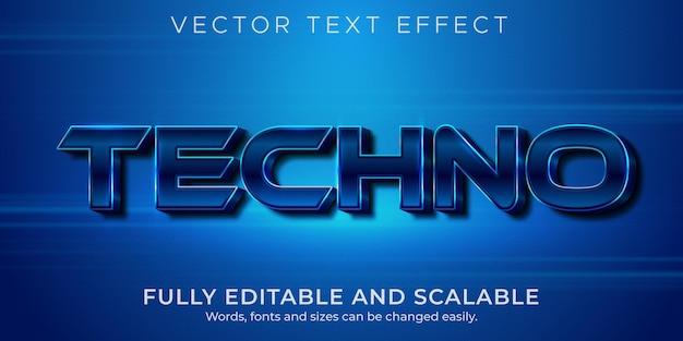 Efeito de texto techno metálico, estilo de texto editável brilhante e elegante