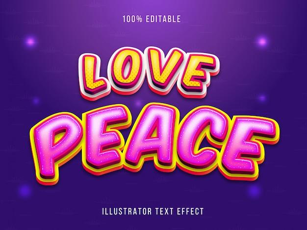 Efeito de texto - texto de paz amor editável