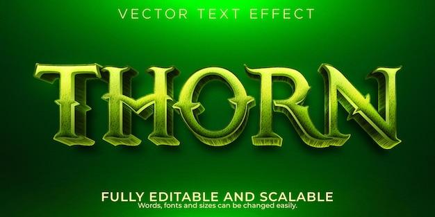 Efeito de texto thorn forest, estilo de texto editável natural e verde